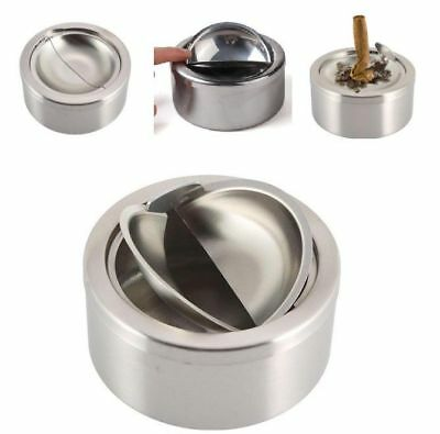 Round Stainless Steel Cigarette Lidded Ashtray Silver With Windproof Lid Cover
