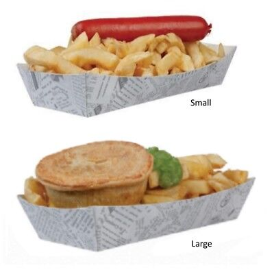 Newspaper Print Disposable Hot Dog / Chip / Pie - Box Holder Tray Small & Large