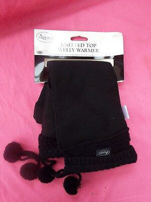 WELLY WARMERS New Briers Black Knitted Fleecy Boot Warmer with Pom Poms