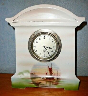 late 19th century pottery mantle clock with Smiths MA clock movement