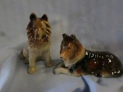 Vintage Pair of 2 Ceramic or Porcelain Collie Figurines  Detailed Dog Japan