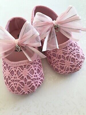 STUNNING Baby Girls Shoes Sparkly Pink Christening Party Pram Shoes 3 sizes