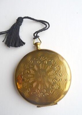 1940's Zell Fifth Avenue, Round Compact, Gold Color, Monogrammed. U.S.A.