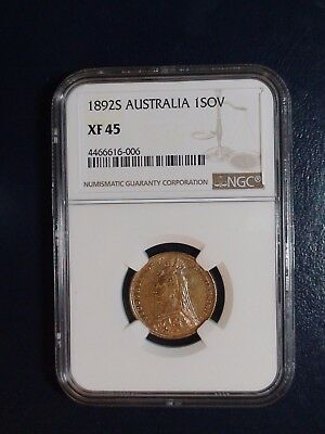 1892 S AUSTRALIA NGC XF45 ONE SOVEREIGN GOLD 1S Coin Auction Starts At 99 Cents!
