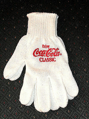 Coca-Cola Gloves, White Cotton Knit with Red Logo - Main Course 10K, Chicago IL