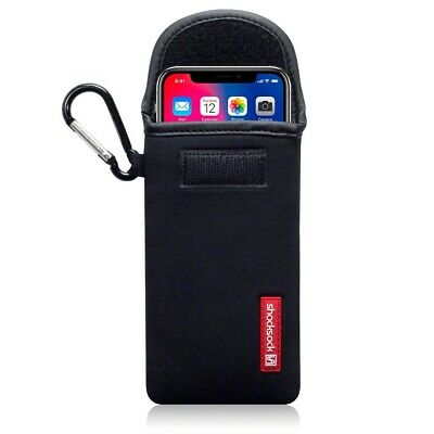 Apple iPhone X/XS Shocksock Neoprene Pouch Soft Case with Carabiner in Black