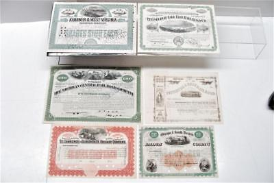 Vintage Railroad Railway Stock Bond Certificate Bundle Qty of 6