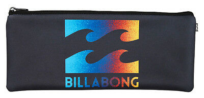 Brand New + Tag Billabong Large Neoprene Pencil Case Multi Colour Logo Black
