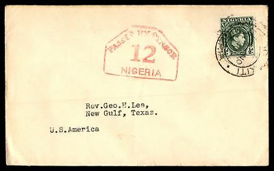 Nigeria Passed by Censor 12 1940 WWII Single Franked Cover to US
