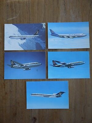 (F1P6) Lot x5 Rare OLYMPIC AIRWAYS Airliner Real Photo Postcards BOEING & AiRBUS