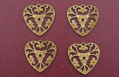 Four Ornate Vintage Heart Brass Filigree Findings Cf441