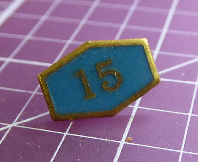 Vintage Enamel Pin 1/10 10K Gold - Turquoise Enamel with 15