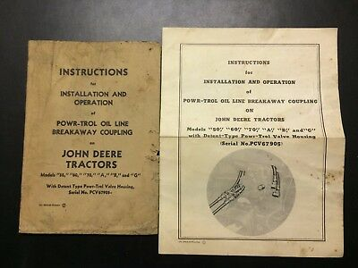 JOHN DEERE Instructions for Powr-Trol Oil Line Breakaway Coupling