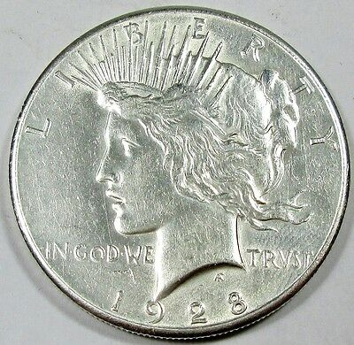 1928 United States Peace Silver Dollar - AU About Uncirculated Condition