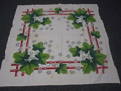 """VINTAGE WHITE COTTON TABLECLOTH w BRIGHT GREEN IVY LEAF RED BAMBOO BORDER 48"""""""