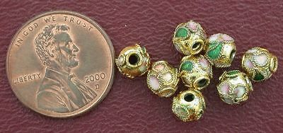Eight 6Mm Floral Round Gold Cloisonne Bead