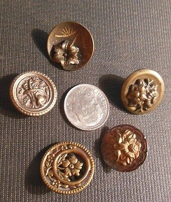 5 Antique Vintage Original Brass 1800s Buttons-Small Attached Flower Gems 3/4""