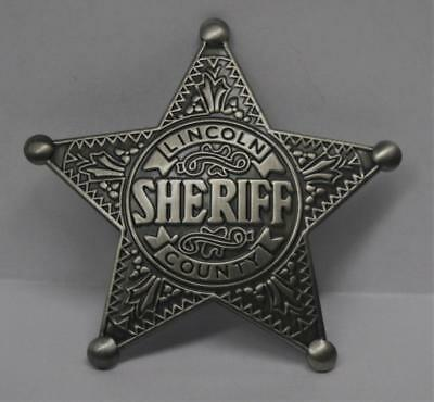 Reproduced Aged - Old West <> Lincoln County Sheriff <> Star Badge  Silver Color