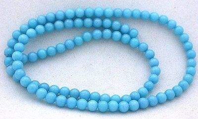 4.5mm Round Baby Blue Color AAA Dyed Jade Gemstone Gem Bead 15 Inch Strand BJB2