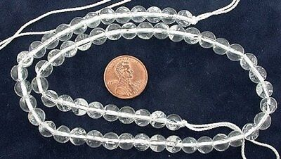 7mm Round Gemstone Crystal Quartz Beads 15 Inch Strand