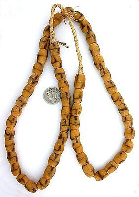 One Yellow Freeform Barrel African Sand Cast Trade Bead 26 Inch Strand SBS4