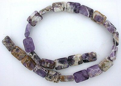 16x12 Rectangle Amethyst Quartz Host Rock Primitive Cut Bead 15 Inch Strand ab14