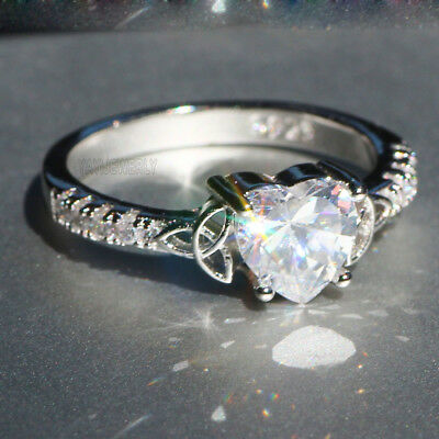 Elegant  White Sapphire 925 Silver Filled Wedding Heart Bridal Ring Jewelry Gift