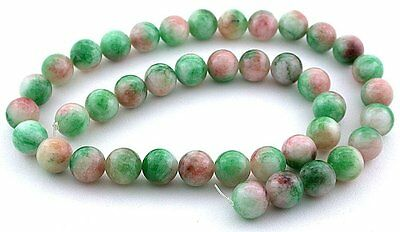 10mm Round Dyed Green White Red Cotton Candy Jade Beads 15 Inch Strand CCJB11