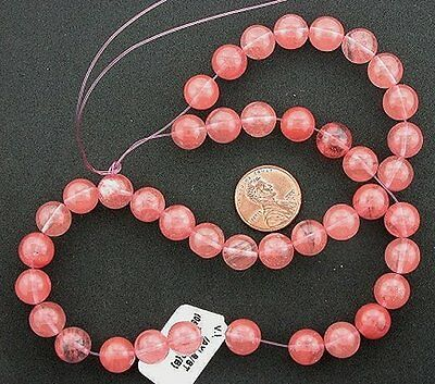 "10mm Round Gemstone Cherry Quartz Beads 15"" Strand"
