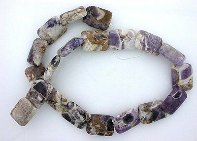 20x15 Rectangle Amethyst Quartz Host Rock Primitive Cut Bead 15 Inch Strand ab21