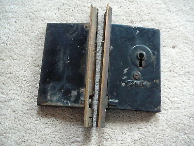 Antique Corbin Eastlake Victorian Double Pocket Sliding Door Lock Set Brass Face