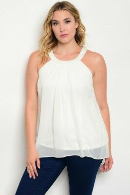 35ad4b280 Women's Plus Size Ivory Chiffon Cold Shoulder Top with Beaded Neckline 2XL  NWT