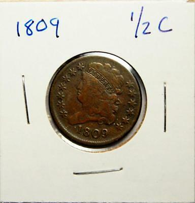 1809 Classic Head Half Cent First Year of Type Full Liberty ROTATED DIES??