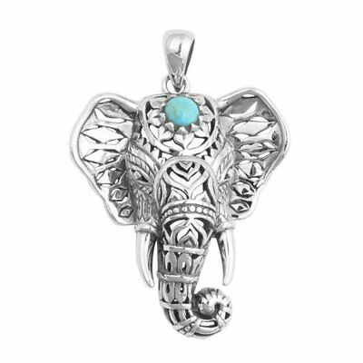 Vintage Turquoise Elephant Necklace Pendant Women Sweater Chain Necklace Jewelry