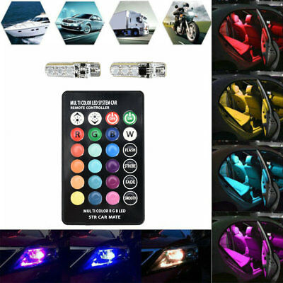 T10 W5W 5050 LED Car Bulbs With Remote Control RGB Led Lamp Reading Wedge Lights