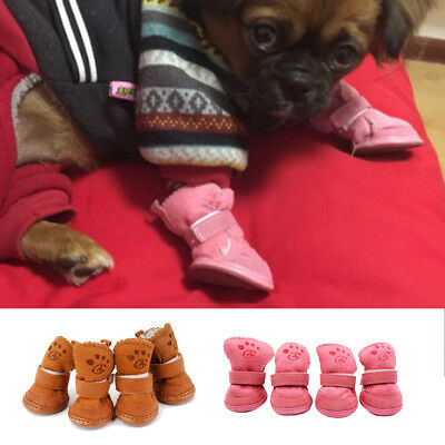Winter Small Pet Dog Warm Snow Boots Anti-Slip Puppy Shoes Protective Booties