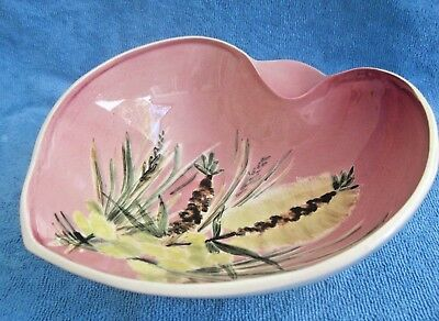 vintage retro STUDIO ANNA footed BOWL handpainted WATTLE BOTTLE BRUSH Australia
