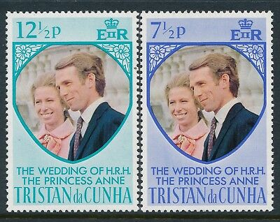 1973 Tristan Da Cunha Royal Wedding Princess Anne & Mark Set Of 2 Fine Mint Mnh