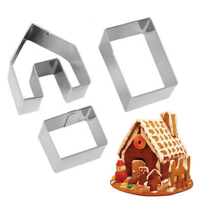 Mini Gingerbread House Cookie Cutter Set 3 Pieces Stainless Steel Biscuit Mold