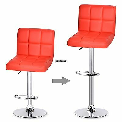 Modern Set of (2) Kitchen Bar Stool Leather Adjustable Swivel Pub Chair 6 Colors