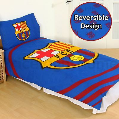 Official Fc Barcelona Pulse Single Duvet Cover Set Kids Adults Reversible