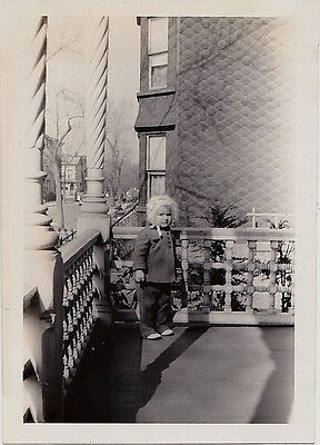 Old Vintage Antique Photograph Adorable Baby in Bonnet Standing on Porch 1941