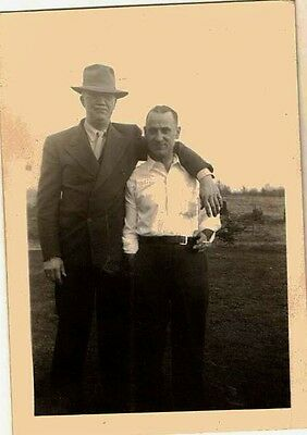 Old Vintage Antique Photograph Big Tall Man and Little Short Man