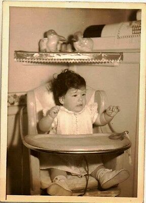 Old Antique Vintage Photograph Adorable Little Baby Sitting in Highchair 1946