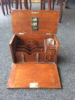 Victorian Honey Oak Desk Top Stationary Cabinet With Copper Plate