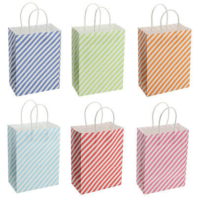 12pcs Stripe Circle Party Bags Paper Gift Bags with Handles Recyclable Loot Bags