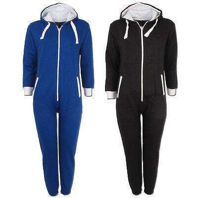 Boys Girls Kids Unisex Hooded Zip All In One Piece Cosy Tracksuit Jumpsuit Size