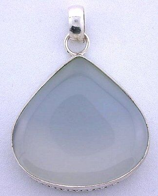 Natural Pear Blue Agate Cabochon Pure .925 Sterling Silver Closeout Pendant Csp1