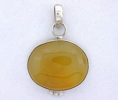 Natural Oval Golden Agate Cabochon Cab Sterling Silver Closeout Pendant Csp14