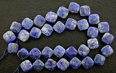 10mm Diamond Cut Square Lapis lazuli Gem Gemstone Beads 15 Inch Strand Natural